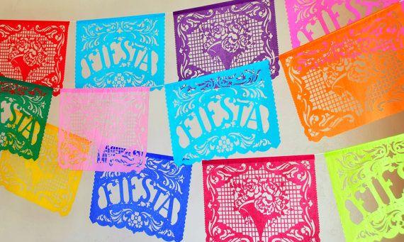 FIESTA FILETEADO  sets of 2  papel picado banners  Cinco de