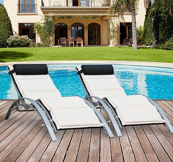 2 Pcs Outdoor Garden Sun Lounger Adjustable Recliner Reclining Chair + Cushion & 58 best Luxury Garden furniture images on Pinterest | Luxury ... islam-shia.org