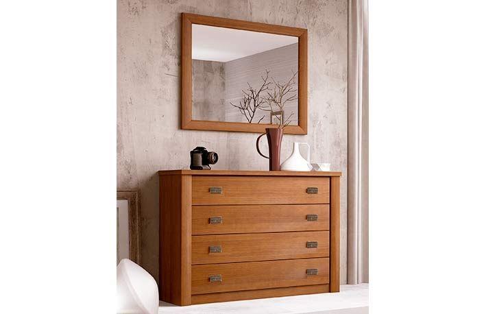 Cómoda dormitorio de madera con espejo