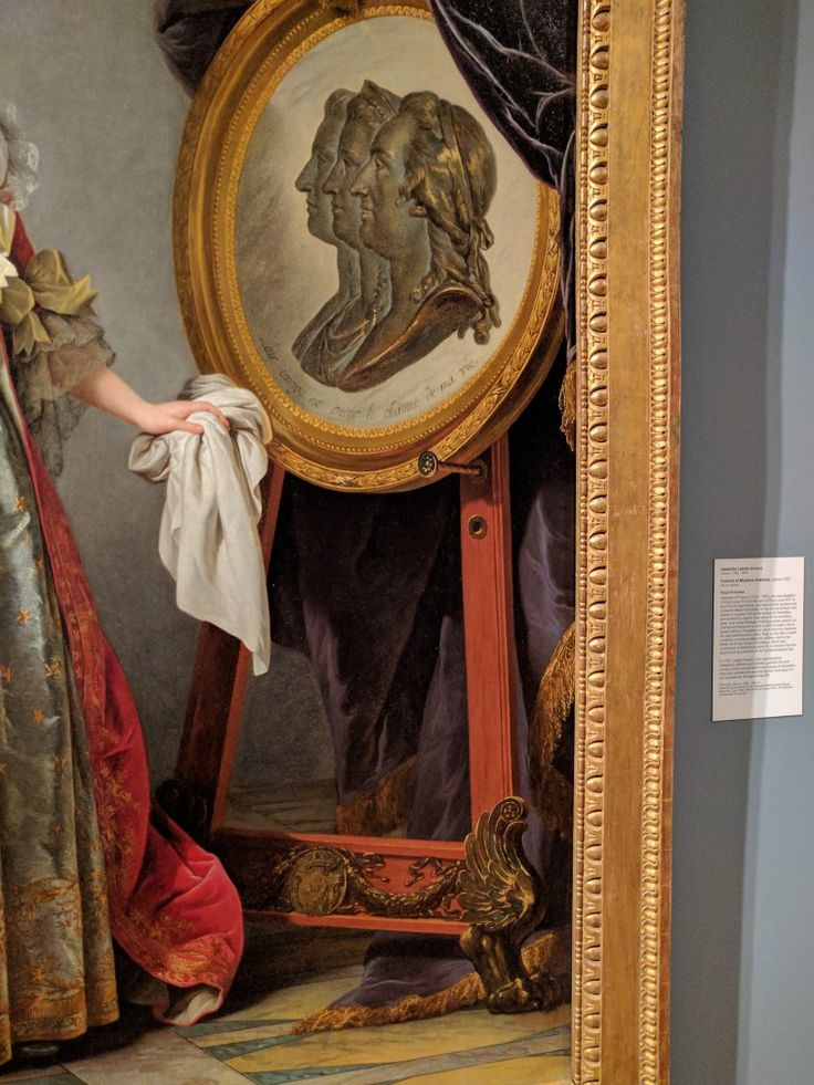 Detail, fancy easel, Portrait of Madame Adelaide, 1787, by Adelaide Labille-Guiard, Speed Art Museum