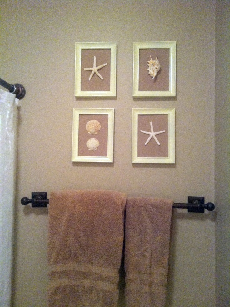 Diy Seaside Inspiration The Happier Homemaker Paint Some Cheap Picture Frames Cover The Seashell Bathroom Decorbathroom Ideasseaside