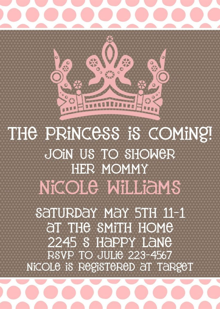 """I love these invitations for a girl baby shower For boys it would be blue and say """"The Prince is Coming"""""""