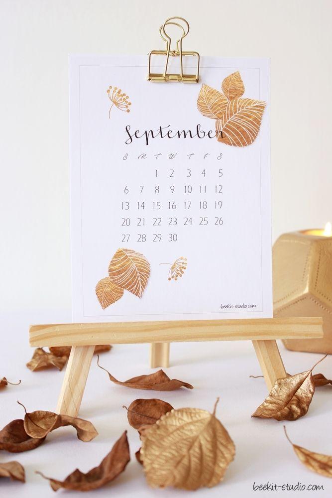 FREE September calander printable from Beekit Studio - styling & photography Debrah Minde