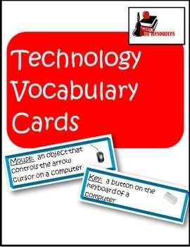 Like all subjects technology skills comes with a certain amount of vocabulary that students need to understand in order to complete assignments.  These vocabulary cards give kid-friendly definitions and color pictures  for more than 30 technology terms.