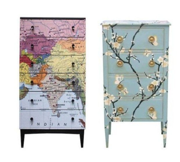 Shelf in bathroom. Decoupage Furniture. You can put anything onto your dresser with Decoupage, even old photographs, cut-outs from magazines, lovely wine bottle labels, post cards from friends, bits & pieces worth membering. You name it, you Decoupage it.