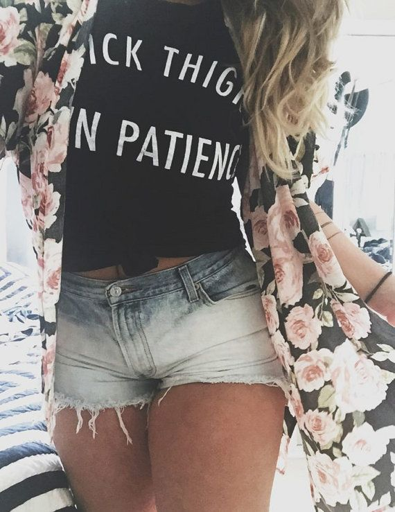 Thick Thighs Thin Patience Off Shoulder Top by pebbyforevee