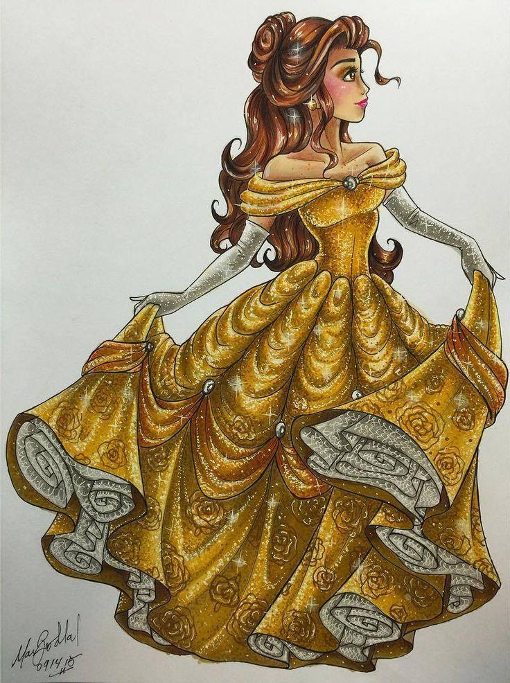 Belle, Disney Princess Drawings by Max Stephen