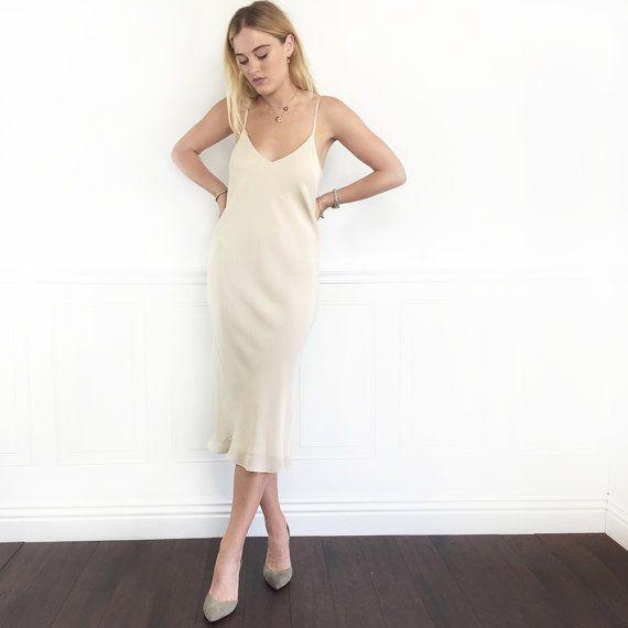 ALEXANDRA IVORY DRESS | Midi Slip Dress | Just Below Knee