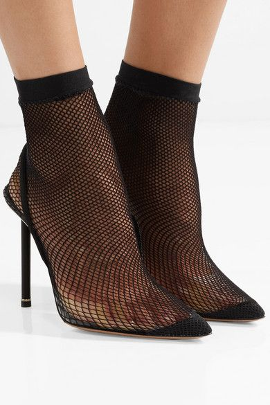 f046e78456 Alexander Wang - Caden suede and leather-trimmed fishnet sock boots | s a r  t o r i a l | Shoes, Fishnet socks, Black fishnets