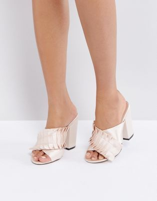 Lost Ink Nude Pleat Detail Mules