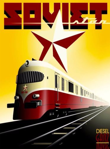 Ganz-Works-Soviet-Hungary-Russia-Railways-Vintage-Travel-Advertisement-Poster
