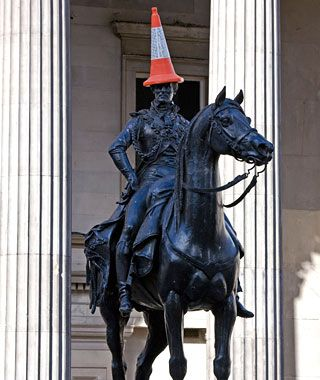 For the past 20 years, this innocuous statue—erected in 1844 on Glasgow's Queen Street—has been a magnet for late-night pranksters, who scale the statue and top it with traffic cones. Locals argue that the cones are an integral part of the statue, as well as the city's identity. The government doesn't agree. City workers knock off the cones with a high-powered water jet,