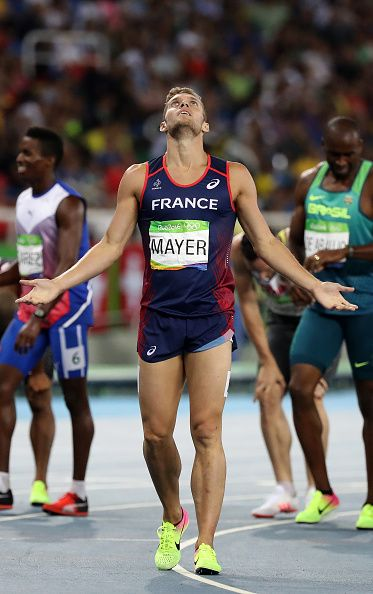 Kevin Mayer of France celebrates the silver medal in the Men's Decathlon…