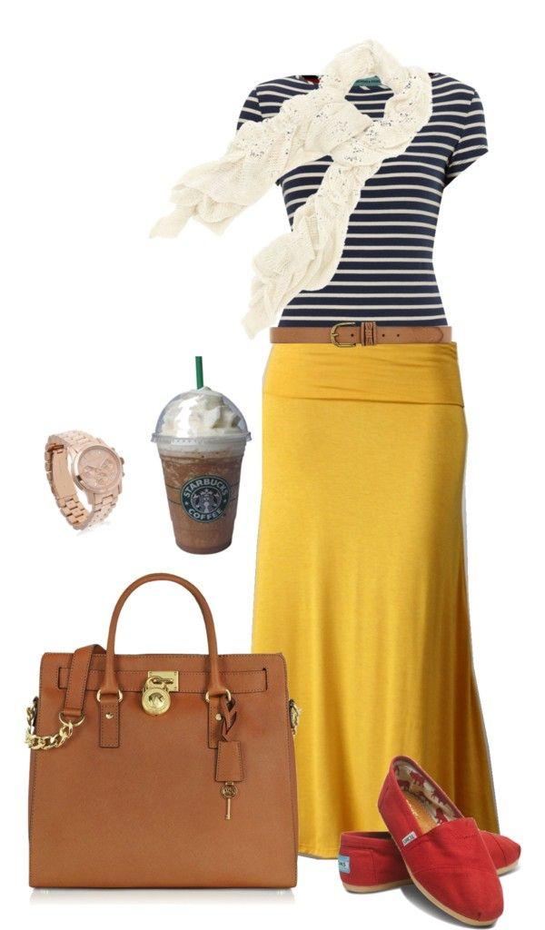 """This is fun with the navy & white striped t-shirt, mustard maxi skirt, neutral/brown leather belt, purse & red espadrilles. """"Summertime Stroll"""" by shortemmi. Like it all but the shoes."""