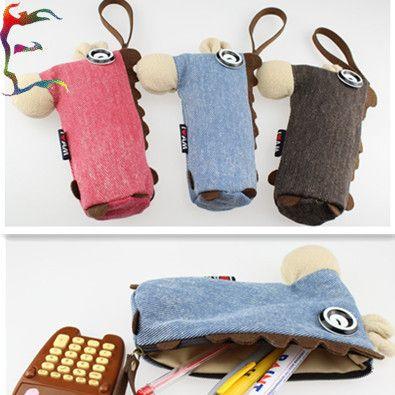 12pcs/lot gratis verzending mode paard stof potlood zak 21x14cm rood blauw bruin kleur dier munt sleutel tas