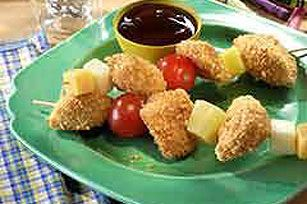 SHAKE 'N BAKE® Chicken Nugget Kabobs Recipe - Kraft Recipes...Kabobs from the oven, great idea for kids