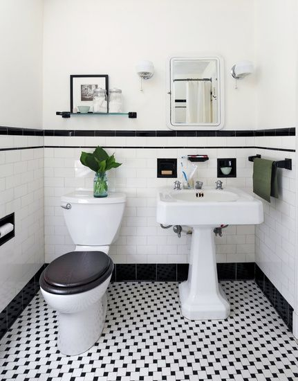 black and white powder room decorpad.com approx. black tiling on the wall