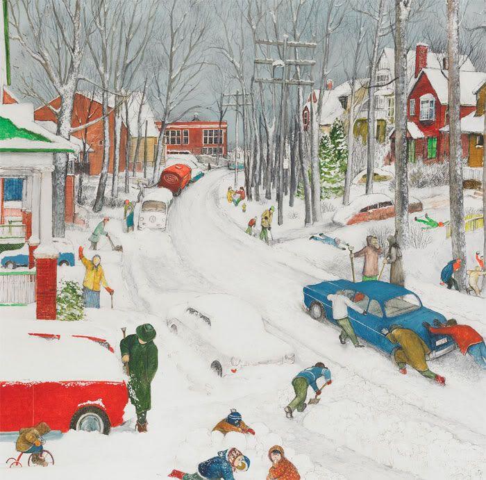 William Kurelek - Balsam Avenue After Heavy Snowfall - 1972