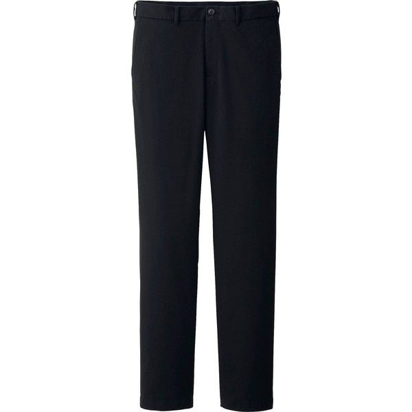 UNIQLO Men Slim Fit Chino Flat Front Pants ($28) ❤ liked on Polyvore featuring men's fashion, men's clothing, men's pants, men's dress pants e black