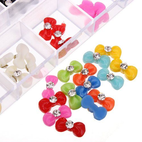60Pcs 3D Bowtie Acrylic Rhinestone Butterfly Nail Art Stickers DDStore -- See this great product.