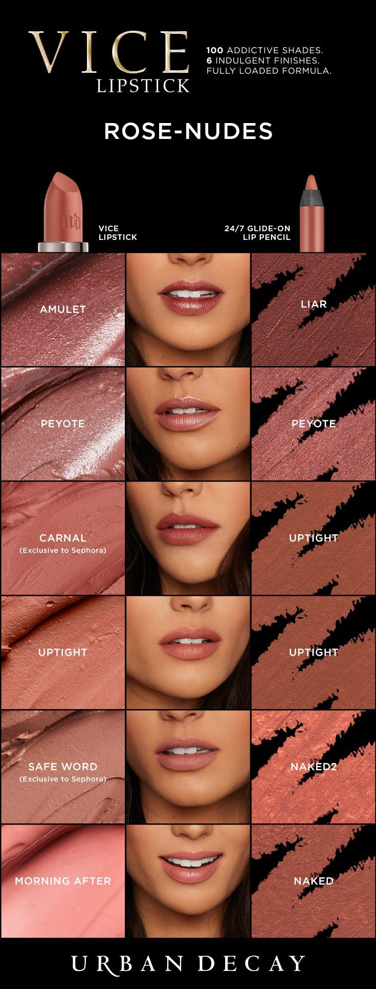 Find the perfect rose nude to match any look! From matte to metallized, pick it up in your favorite finish now at http://urbandecay.com.