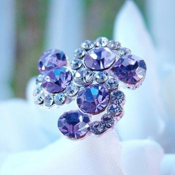 Tanzanite Colour and Light Purple Swirl Crystal Bouquet Jewelry http://oneclassicwedding.com/Wedding-Accessories/Bouquet-Jewelry/Purple-Swirls-Bouquet-Jewellery