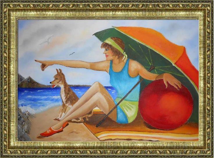 Στην παραλία με τον καλύτερο φίλο μου...!!!! ελαιογραφια σε μουσαμά 55x40 cm   On the beach with my best friend ... !!!! Oil on canvas 55x40 cm