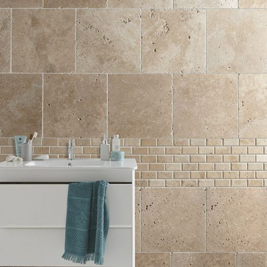 Carrelage int rieur antique en travertin beige x for Carrelage salle de bain mosaique beige