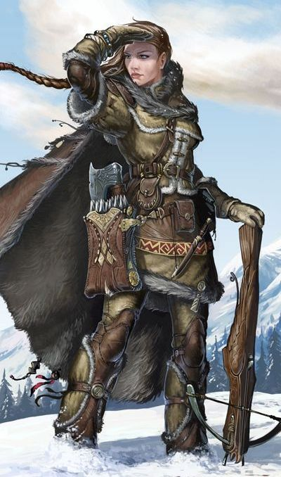Feeemale ranger with crossbow, quarrels, and hatchet.