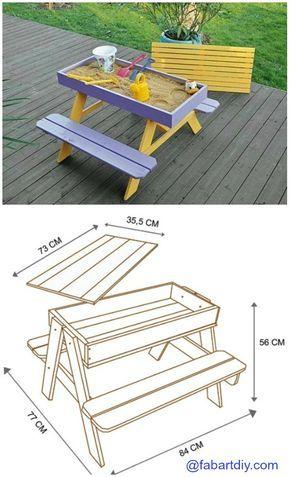 DIY Sandbox Picnic Table Plan #Woodworking, #Outdoor, #Kids