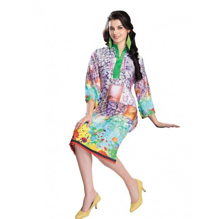 Exquisite Multi Colored Cotton Designer Kurti