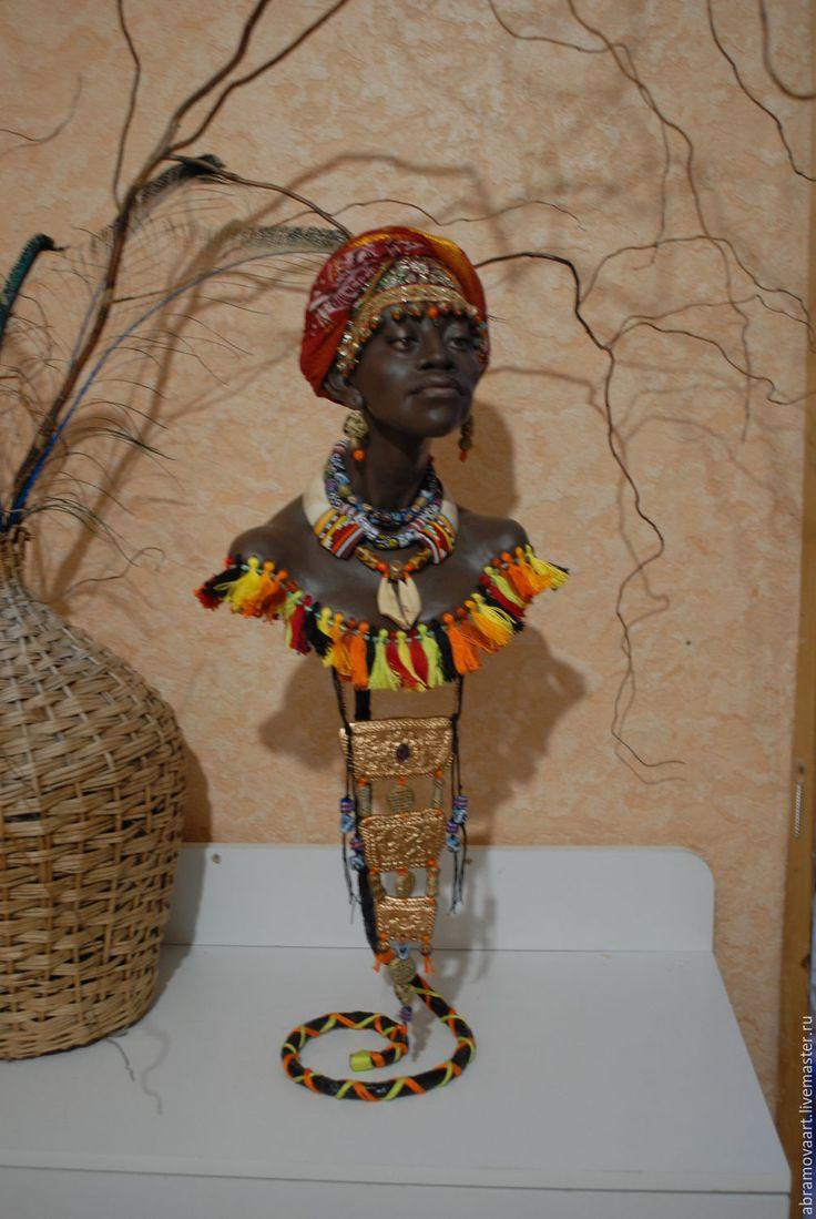 """Купить Бюст""""Африка"""" - комбинированный, африканский стиль, ручная авторская работа, единственный экземпляр"""