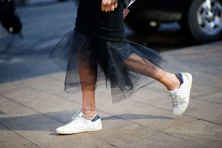 Ramya Giangola pencil tulle skirt & Golden Goose sneakers