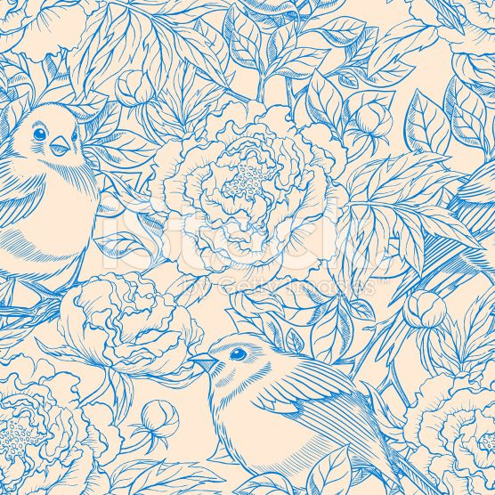 blue beige birds and peonies royalty-free stock vector art