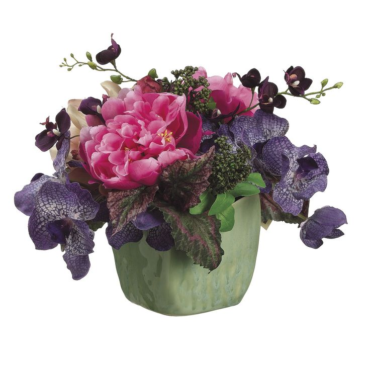 Peony and orchid arrangement centerpieces silk