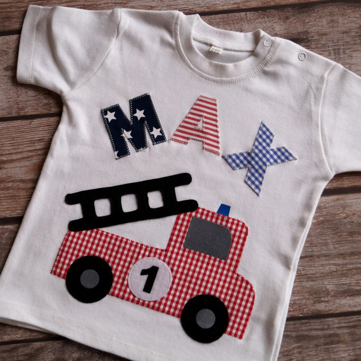 T-Shirt Feuerwehr & Name, Geburtstag, Namensshirt, Applikation, Kurzarmshirt, weiß, Zahlenshirt von LittleVIP2015 auf Etsy