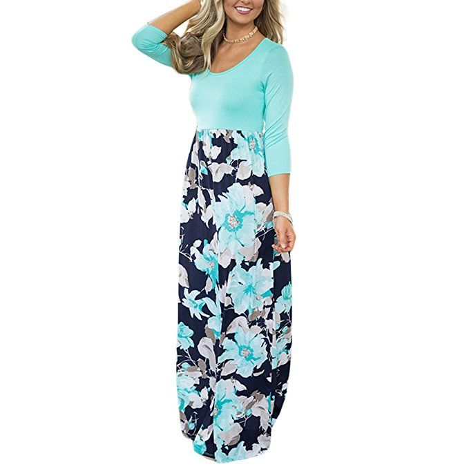 a242335c3e9 HOOYON Women's Casual Floral Printed Long Maxi Dress with Pockets(S-5XL) at Amazon  Women's Clothing store: