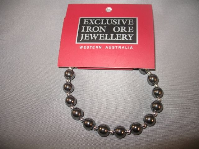Iron Ore Bracelet - Exclusive Iron Ore Jewellery Western Australia. Western Australian Iron Ore (Hematite) is from the Pilbara region of Western Australia. It has a beautiful permanent lustre. It is said to have energizing and vitalishing qualities and a positive effect on the bloodstream. Born in Western Australia 1989. $39.99