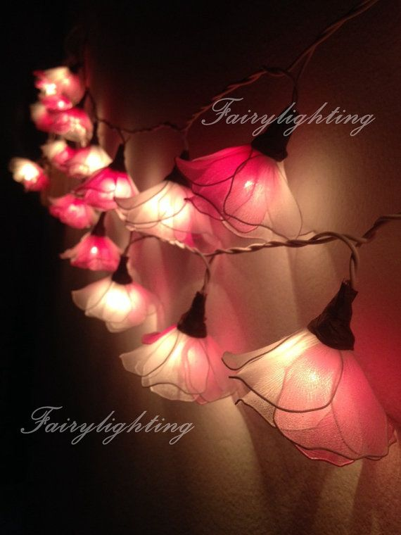 String Lights - 20 White-Pink Flower Fairy String Lights Hanging Wedding  Gift Party Patio