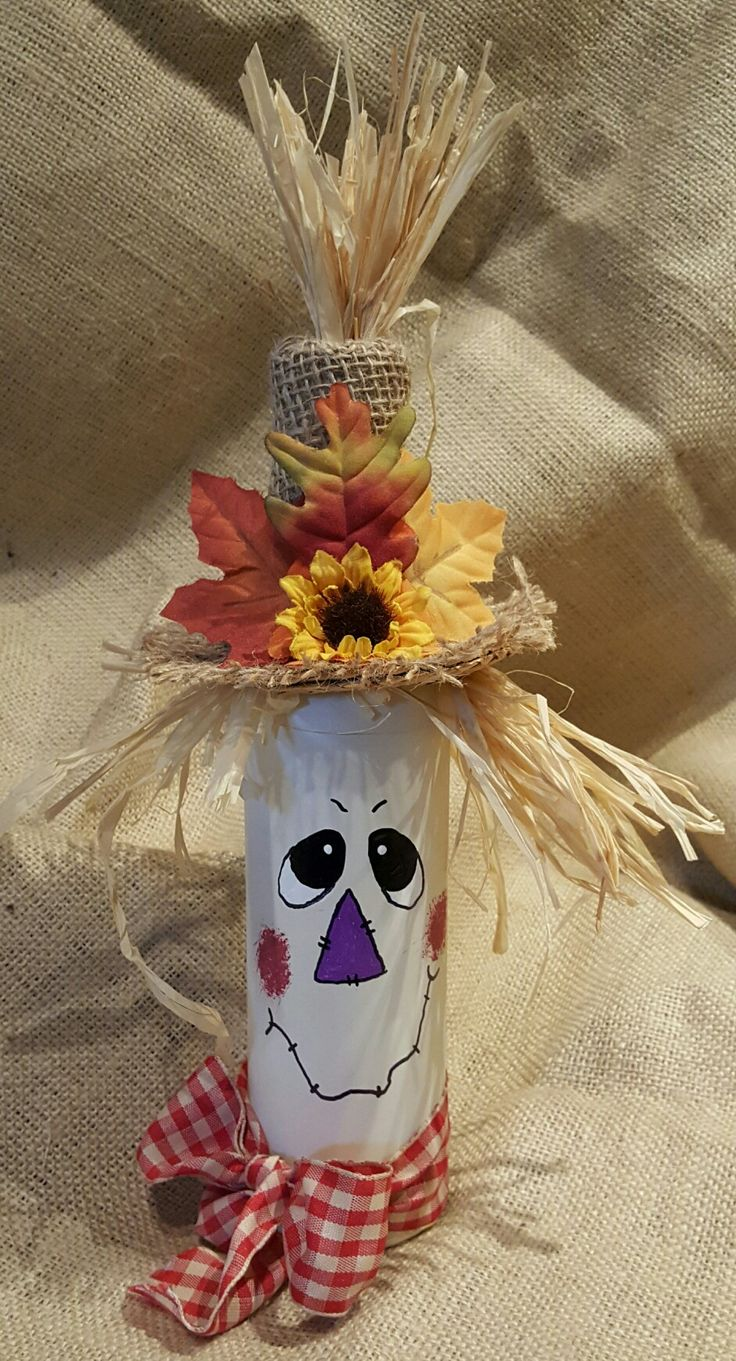 My version of a wine bottle scarecrow!