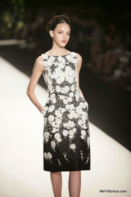 applique embroidered flowers on Naeem Khan's Spring 2014 dress