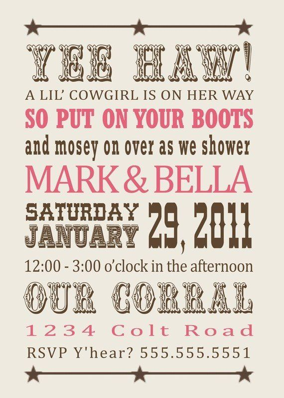 Cowgirl Baby shower invitations  | followpics.co