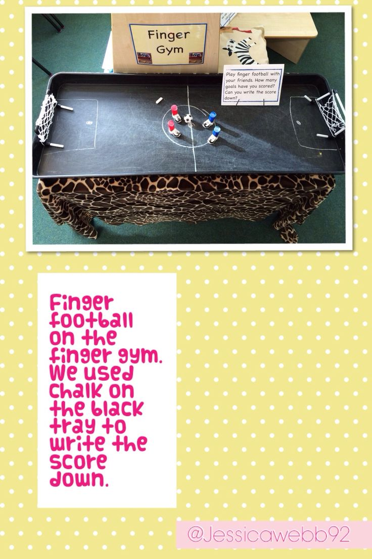 Finger football! Developing fine motor skills and maths by keeping track of the score. EYFS