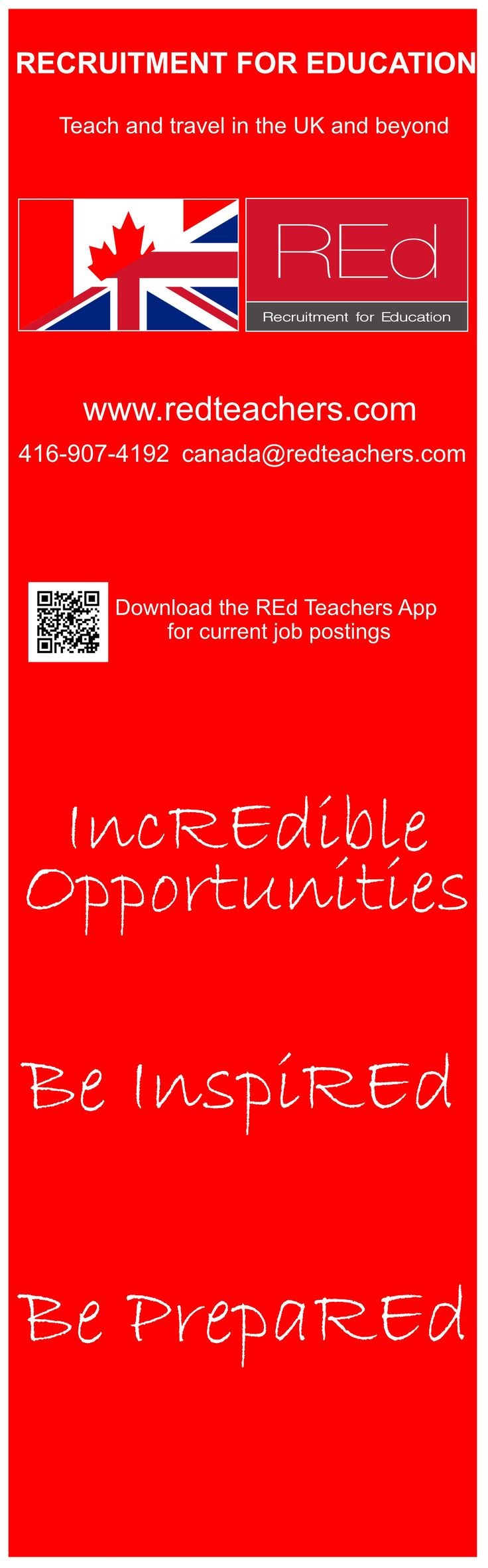 Want to teach in the UK? Contact REd Teachers today and register on our website! www.redteachers.com