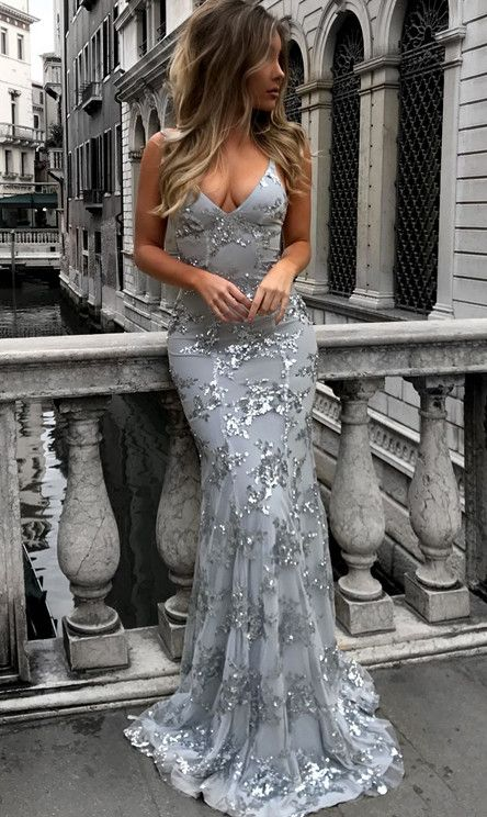 Sexy V-neck Tulle Long Mermaid Prom Dresses, Lace