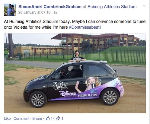 Andri still thinking about Violetta while she's out at Ruimsig Stadium #Dontmissabeat!