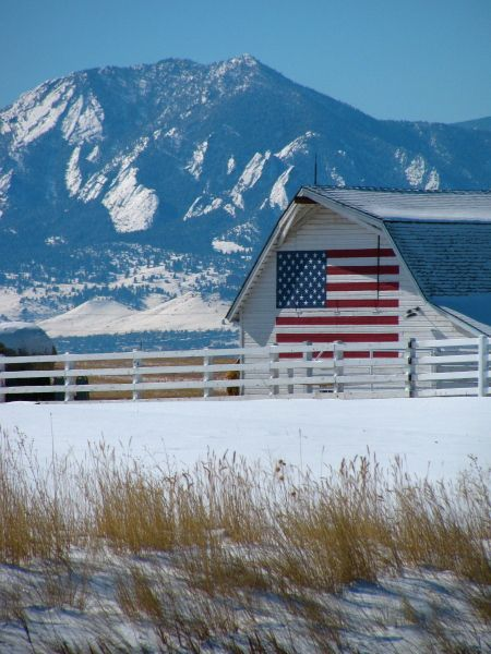 Beautiful Winter Picture Of Barn & American Flag