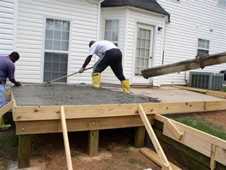 how to build raised decking on concrete