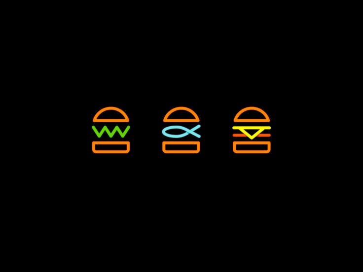 Neon Burger Icons by Kira Chao