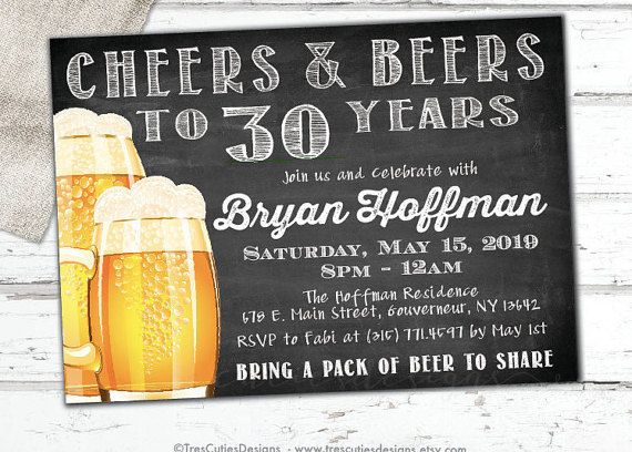 Cheers to 30 Years Male Birthday Invitation by TresCutiesDesigns